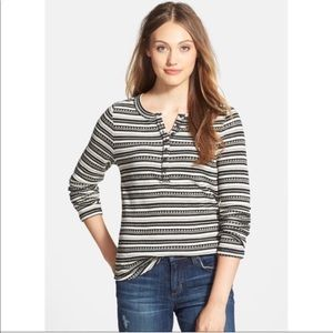 Lucky Brand Chloe striped thermal-knit Henley,  XS